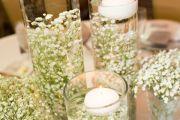 στολισμο γάμου με λευκα λουλουδια γυψοφιλη