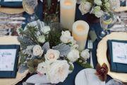 Μπλε Χρυσό Wedding Centerpiece Elcreations